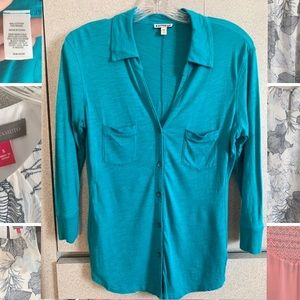 Teal 3/4 sleeved collared shirt